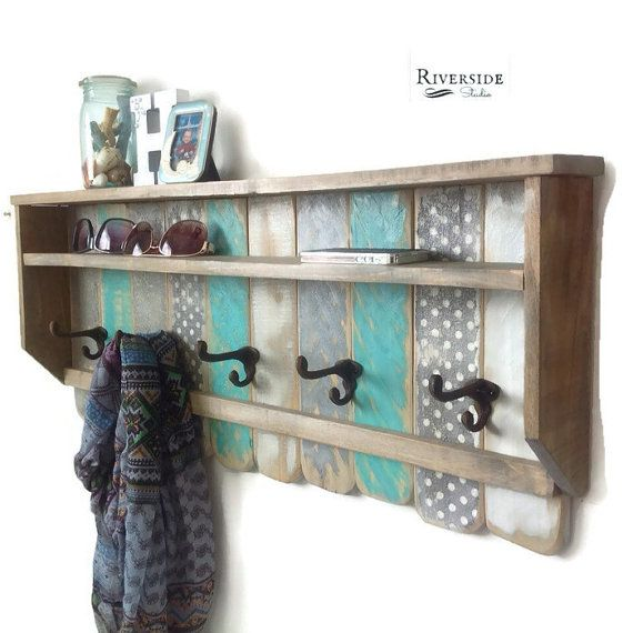 Entryway Wood Shelf / Rustic Pallet Coat Rack by RiversideStudioON