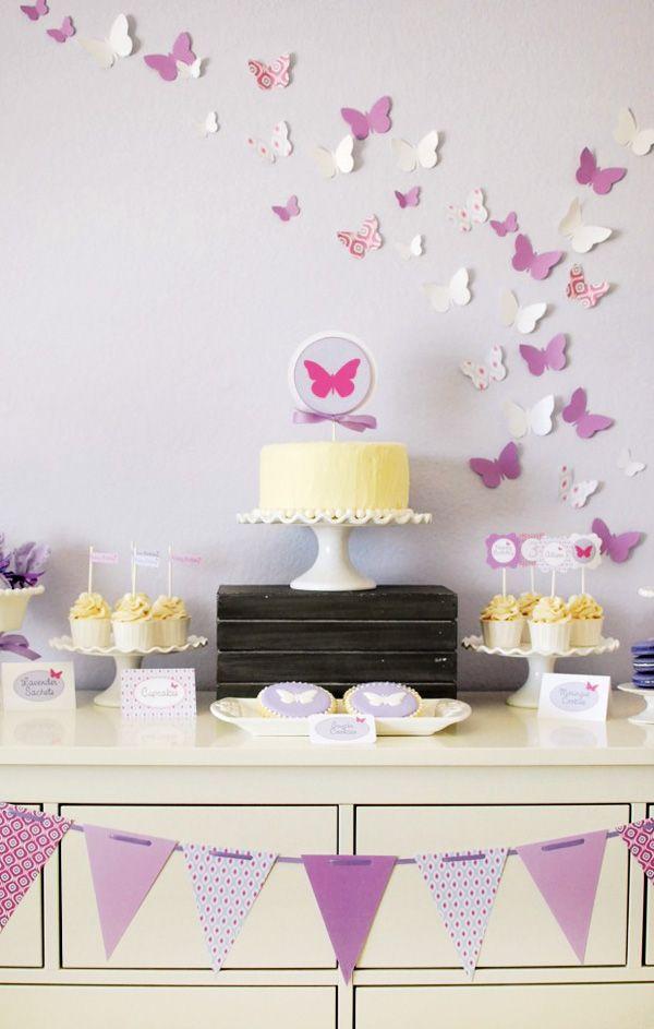 Mesa de bolo - festa tema Borboletas