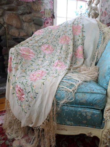 Antique Piano Shawl Pink Floral Design Creamy Silk Long