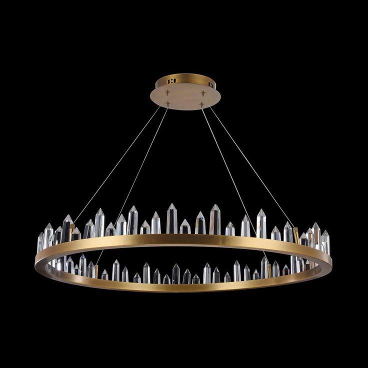 Goldener LED Ring-Kronleuchter Gletscher verzaubert runde Tische mit zarten Eiskristallen. Kaufen im Lichtakzente Lampen Online-Shop. Klicken Sie hier für mehr Informationen: https://www.lichtakzente.at/de/maytoni-gletscher-led-ring-kronleuchter.html