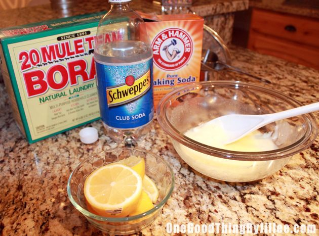 1 cup of baking soda   1/4 cup lemon juice   3 Tablespoons Borax   Club Soda     Combine first 3 ingredients into a bowl and mix together. Then add just enough club soda to make a thick paste.     Dip a rag into the paste and rub onto your stainless steel appliances. Gently then wipe off with wet rag.
