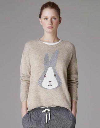 Oysho Rabbit print jersey sweater (1% angora, 66% acrylic, 4% wool, 29% nylon, €29,99 / 1999 Rub) #sweater #rabbit #oysho