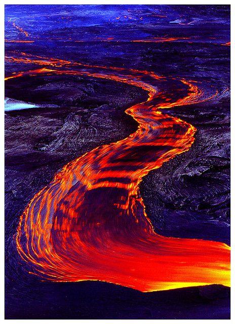 Lava Flow from Mauna Loa at Hawaii Volcanoes National Park, Hawaii, USA