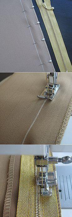 Con qué cuidado, muy bien y simplemente coser & quot; & quot cremallera;  (No oculta).