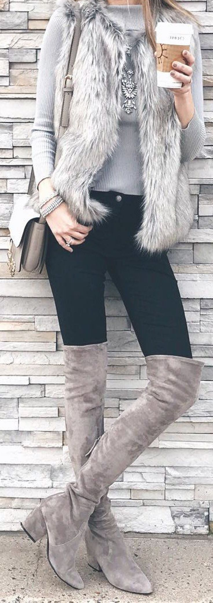 Casual Preppy Winter Outfit Ideas for Women Dressy Stylish Fur Vest with Leggings Thigh High Grey Suede Boots - www.Poshiroo.com