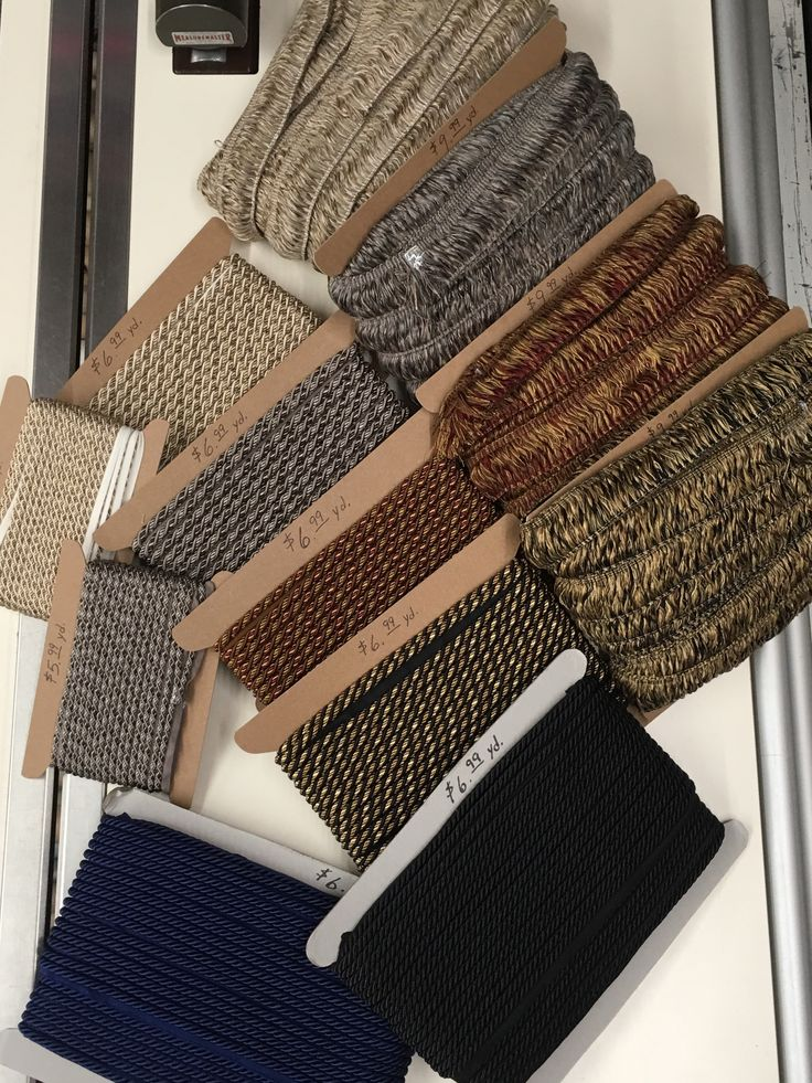 New trims! Solid black & solid blue: cording w/lip. Off white/grey, grey/black, black/gold, red/gold: brush fringe & cording w/lip.