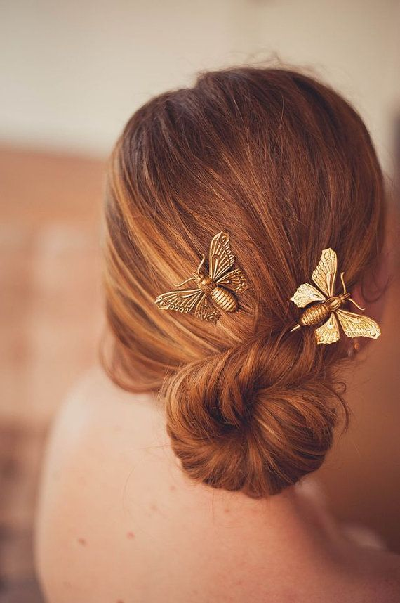 Gold Butterfly Bobby Pins and by shopelizabethperry
