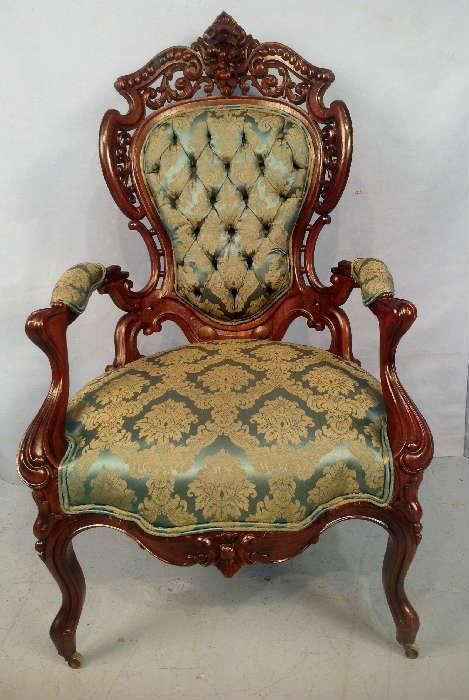 NET: 2016 - Rosewood laminated rocco parlor chair by Meeks, Stanton Hall  pattern, ca. 1855, 45 in. T, 28 in W, 23 in. … | Antiques | Pinte… - Found On EstateSales.NET: 2016 - Rosewood Laminated Rocco Parlor