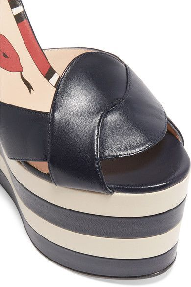 Gucci - Two-tone Leather Wedge Sandals - Navy - IT36.5
