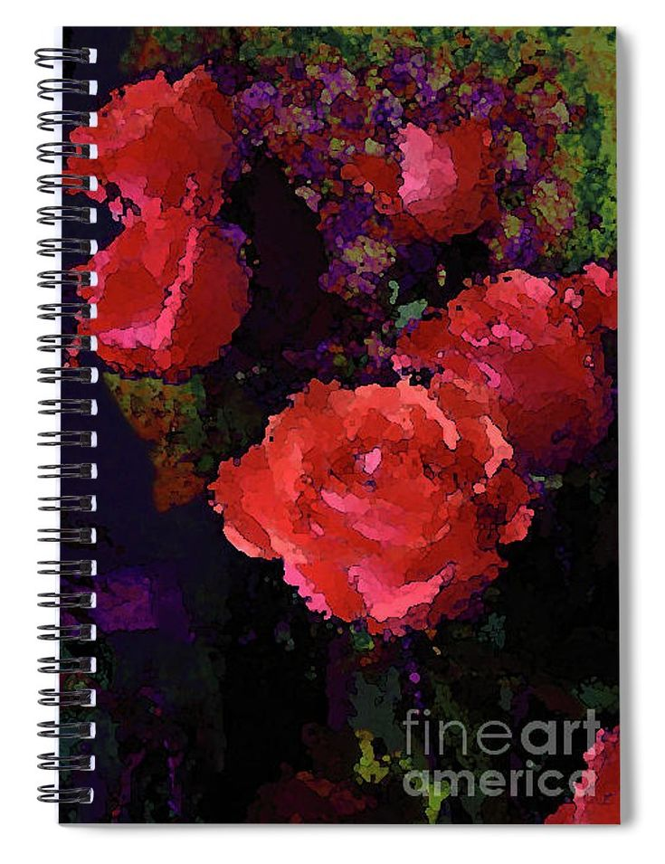 Watercolor Roses Orange With Purple Spiral Notebook for Sale by Corinne Carroll