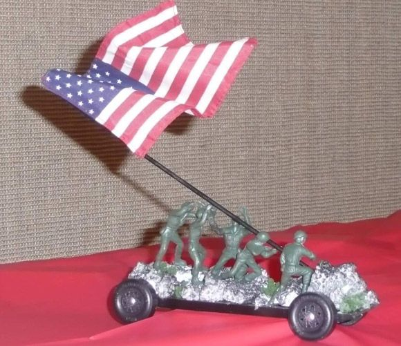 ahg pinewood derby iwo jima pinewood derby car due to the height the flag is just for display and is not place during the race - Pinewood Derby Car Design Ideas