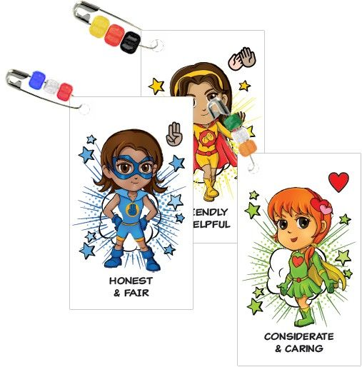 Ten different superheroes--one for each part of the Girl Scout law are represented in these swaps. Kit makes 100 swaps!…
