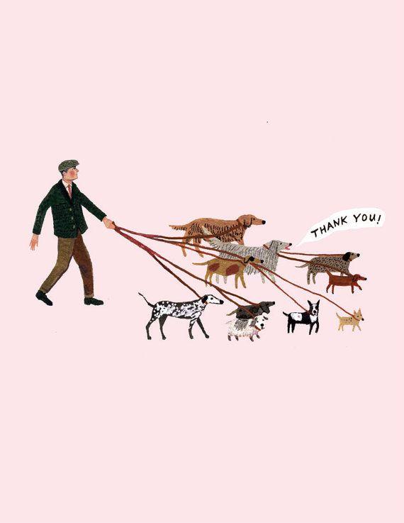 Etsy の dog walker thank you card by beccastadtlander