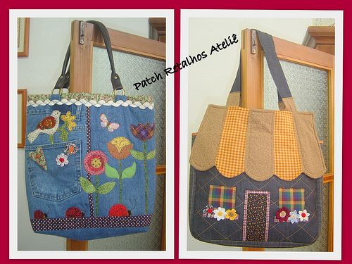 Bolsas JeansDenim Projects, Recycle Jeans, Denim Bags, Bolsas Jeans, Jeans Reciclados, Patchwork Appliques, Bags Ideas, Bags, Agenda Patchwork