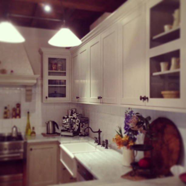 french style kitchen with handpainted 'milk paint' by Porter's Paints.