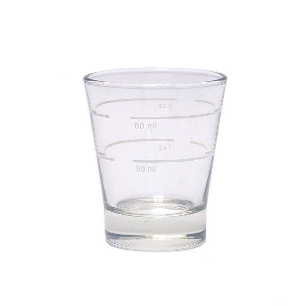 Buy this shot glass for espresso brewing - made of pyrex, heat-resistant glass and marked with 30ml & a 60ml volume lines