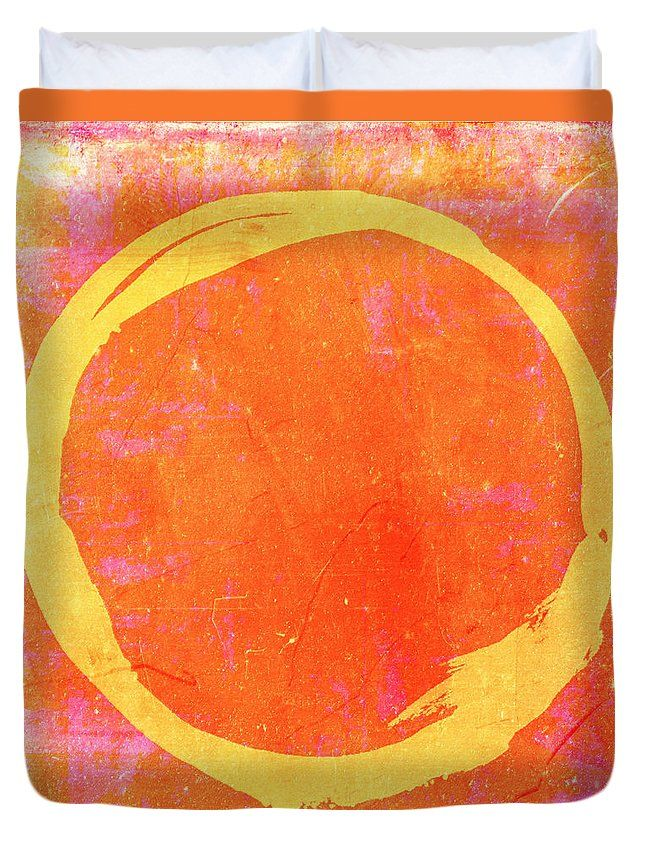 Enso No. 109 Yellow On Pink And Orange Duvet Cover by Julie Niemela.  Available in king, queen, full, and twin.  Our soft microfiber duvet covers are hand sewn and include a hidden zipper for easy washing and assembly.  Your selected image is printed on the top surface with a soft white surface underneath.  All duvet covers are machine washable with cold water and a mild detergent.