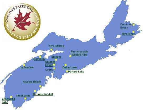 For a list of Nova Scotia's Provincial Parks & an interactive map with a list of events that occur at each park visit http:// novascotiaparks.ca/misc/parks-day-2013.asp  Roll over park name for brief description of event. Click on park name for more details. http://www.mervedinger.com