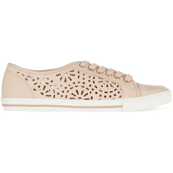 Carvela Lantern laser cut trainers (6.315 RUB) ❤ liked on Polyvore featuring shoes, sneakers, leather lace up shoes, polish leather shoes, polish shoes, shiny shoes and shiny leather shoes