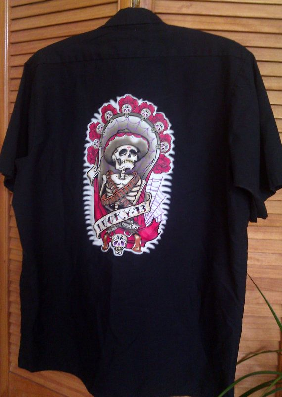 Day of the Dead / Lucky 13 Mens Work Shirt by Lauralous on Etsy, $27.00