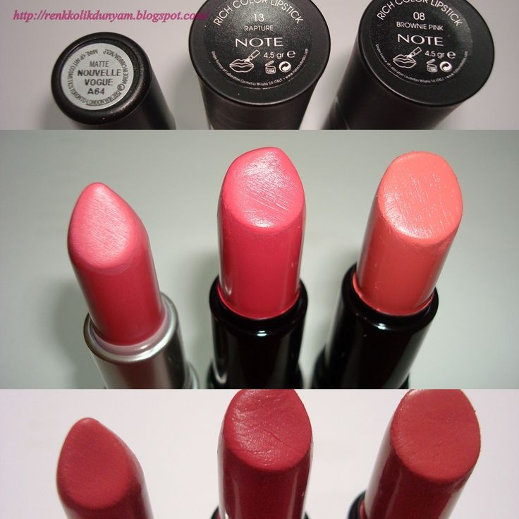 Mac 'Nouvelle Vogue' mat ruj ile Note Rich Color 08 Brownie Pink ve 13 Rapture