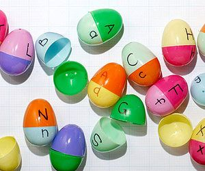 Lowercase and uppercase learning activity with plastic Easter eggs.