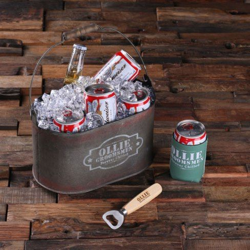 #Personalized Ice Bucket w/Beer Can Holder & Opener This set includes 1 wood bottle opener, 1 tin bucket and 1 beer can holder. The beer can holder comes in different colors. The tin bucket is waterproof and can hold 6 #beer cans. It is perfect for beach parties, tailgates, and celebrations, keeping beverages conveniently iced. We can print anything you want on the beer can holder and engrave anything on the carrier and bottle opener. #Ad