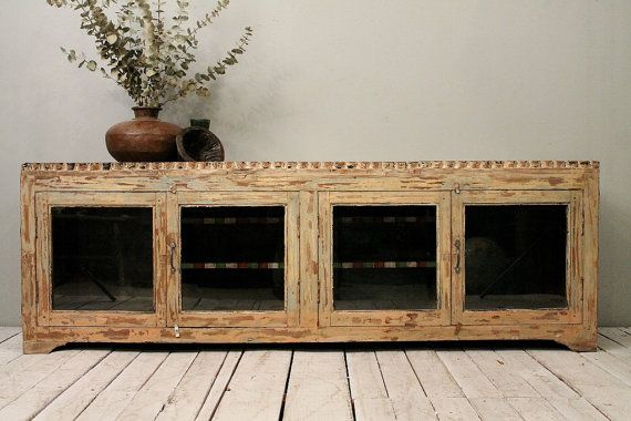 Salvaged Antique Indian Industrial Farm Chic Glass Door Media Console… -> Glass Tv Sideboard