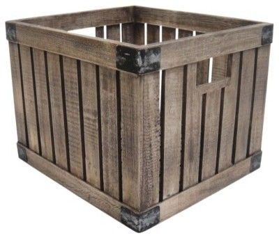 Threshold Vintage Milk Crate, Light - traditional - storage boxes - Target