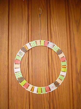 Brennender Schuh - Türkranz Herbst Washi Tape schnell gebastelt Metallringe Herbstfarben