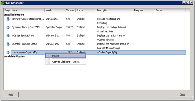 VMware Plug-in Manager
