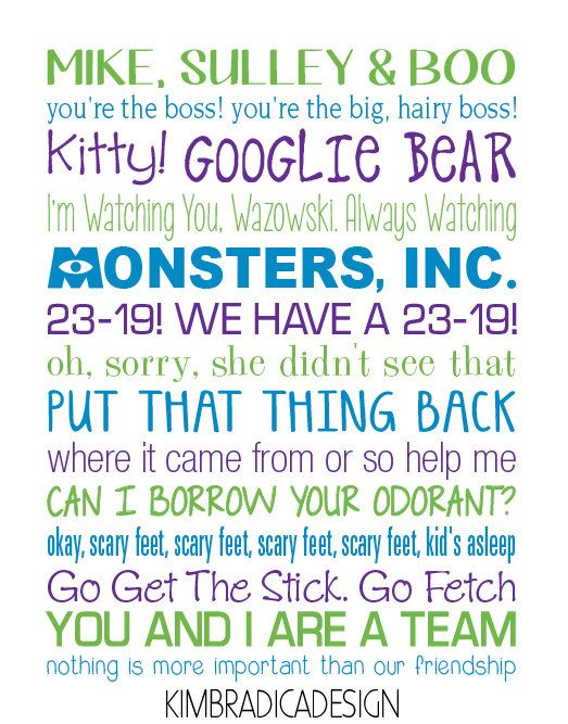Monsters Inc. Subway Art 11x14 Digital Print by KimBradicaDesign, $20.00