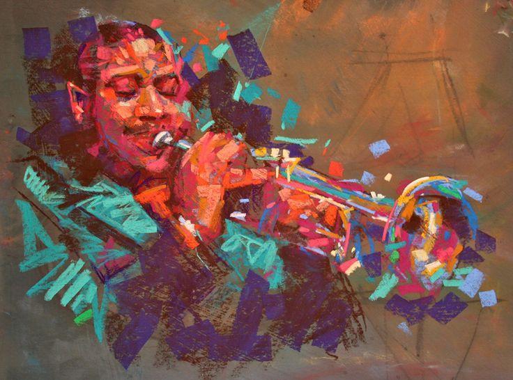 Musician - Jazz 2 by Jamel Akib in Chalk Pastel