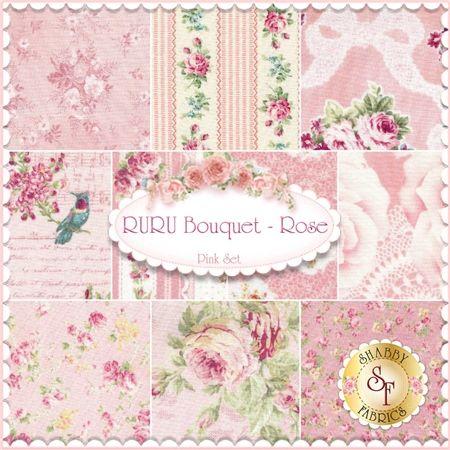 "RURU Bouquet 10 FQ Set - Pink By Quilt Gate Fabrics: RURU Bouquet is a floral collection by Quilt Gate Fabrics. 100% Cotton. This set contains 10 fat quarters, each measuring approximately 18"" x 21""."