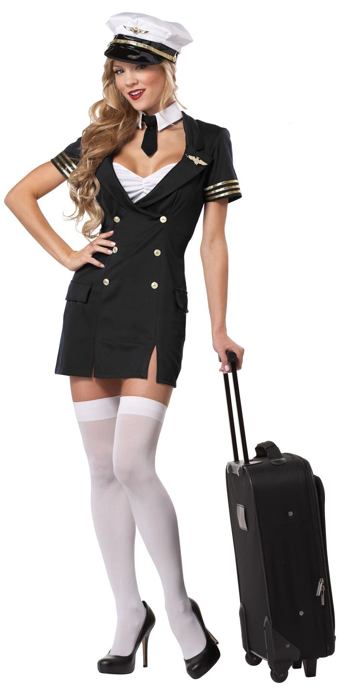 Ready for Take Off Ladies Sexy Pilot Costume - Calgary, Alberta. This is a great Halloween costume, for a professions costume party, or something to wear for that special someone. This is a sexy Ready for Take Off pilot costume. This is a four piece costume with a dress, collar, hat and pins. The dress has a white camisole attachment under the low neckline. The dress is fake double-breasted and has gold trim on the short sleeves. The collar is a detached shirt collar with a mini tie.