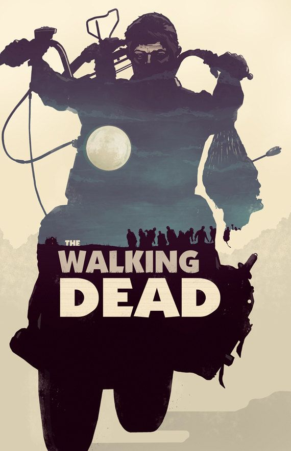 """The Walking Dead Daryl Dixon poster, 11x17"""" for $15. Also available in green, red, and grey"""