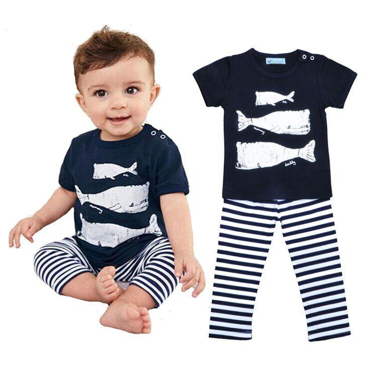 Baby Boy Clothing Set Cartoon Whale Print Short Sleeve T
