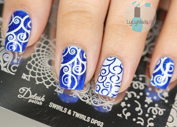 Mermaid inspired nail art using our Swirls & Twirls plate over Mermaid For Each Other nail polish
