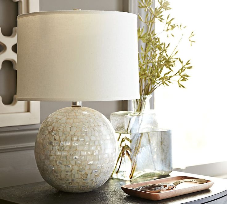 Jolie Mother-of-Pearl Round Lamp Base | Pottery Barn