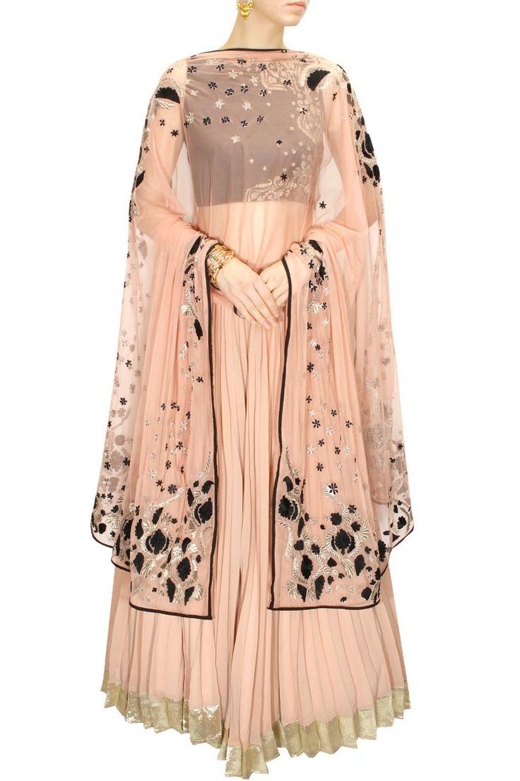 INTRODUCING : Black and peach gold thread embroidered lehenga set by Astha Narang. Shop now at www.perniaspopups... #fashion #designer #krishnamehta #shopping #couture #shopnow #perniaspopupshop #happyshopping