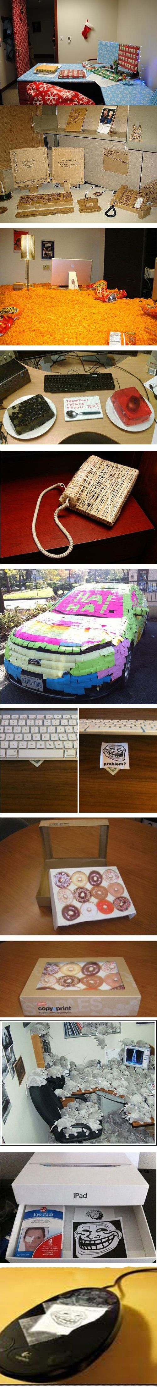 Office Pranks. I didn't want to work in an office whenI grew up before seeing this, but now I really don't if there is a potential for these things to happen.