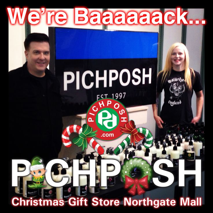 Garrett & Chantry - We're Baaaaaack...  PICHPOSH  Christmas Gift Store ★★★NOW OPEN★★★ Northgate Mall Regina Saskatchewan ★★★New Location★★★ Down from the Target Mall Entrance.  Have a Canadian Christmas - give PICHPOSH Handmade in Canada,  High Quality Bath & Body Products. #gift #gifts #christmas #festive #bathandbody #northgatemall #pichposh