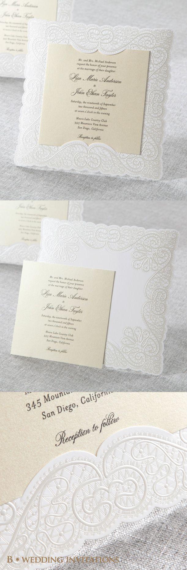 Silk Embossed Laser Cut Frame By B Wedding Invitations #bweddinginvitations  #wedding #invitations #