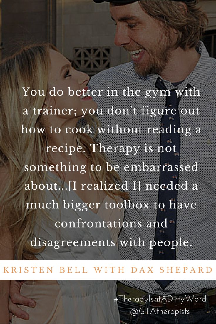 """Therapy is not something to be embarrassed about..."" Kristen Bell with Dax Shepard on the benefits of therapy  #TherapyIsntADirtyWord"