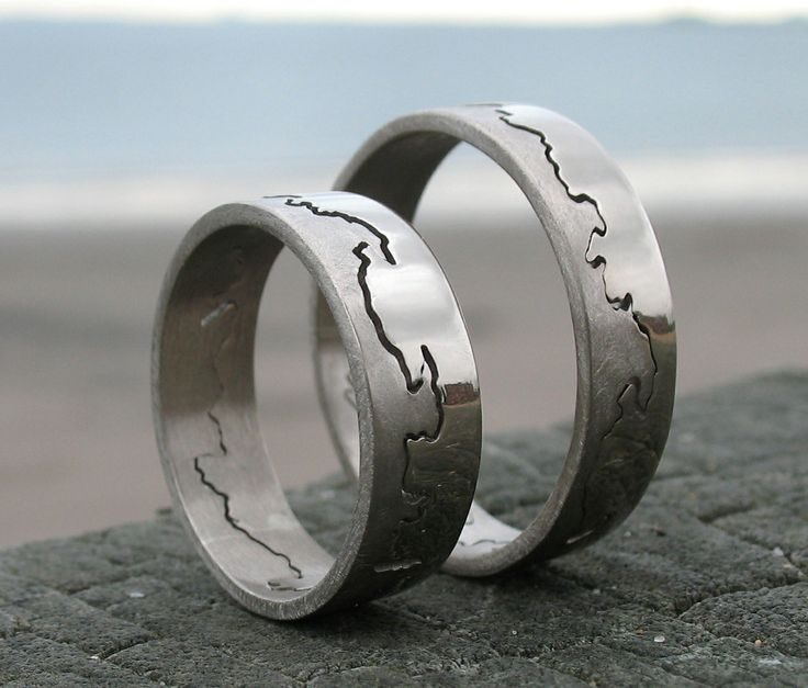 beautiful pair of 6mm wide 18ct white gold coast rings