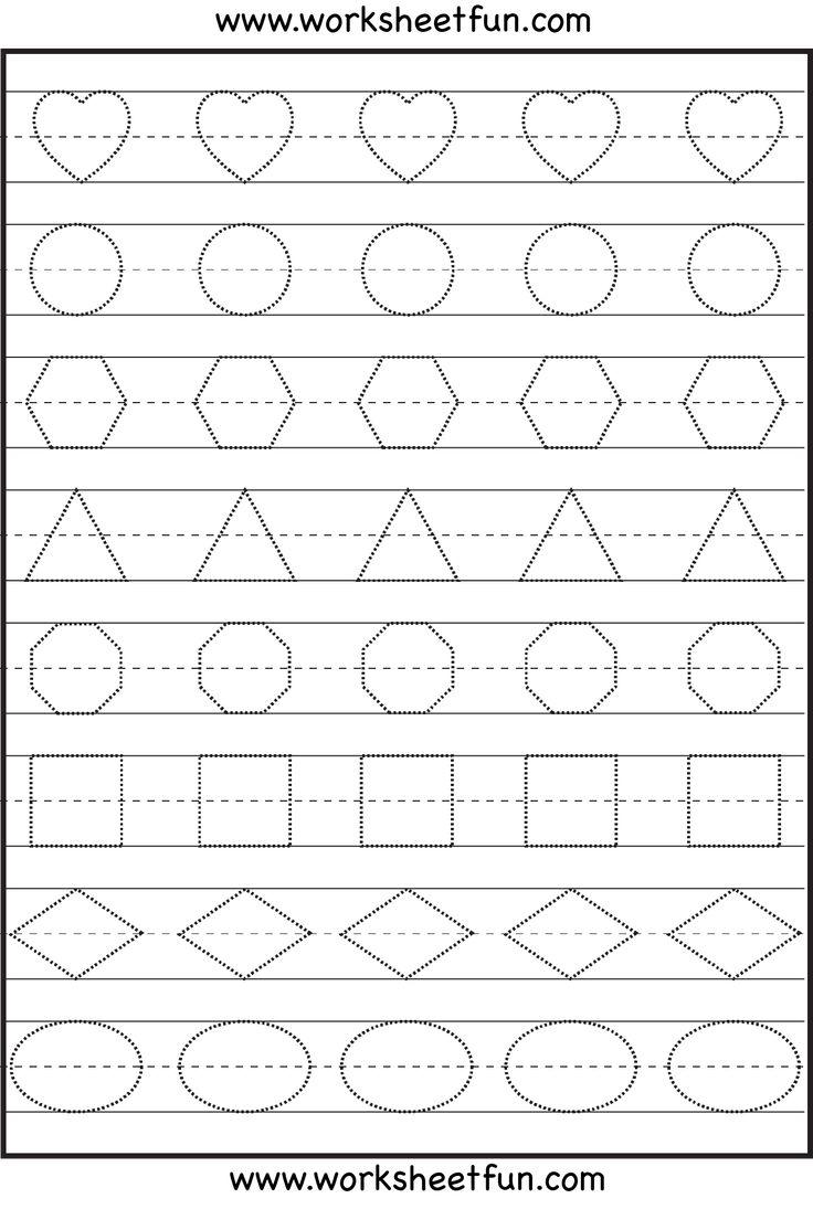 shape tracing kindergarten worksheets pinterest printable preschool worksheets preschool. Black Bedroom Furniture Sets. Home Design Ideas