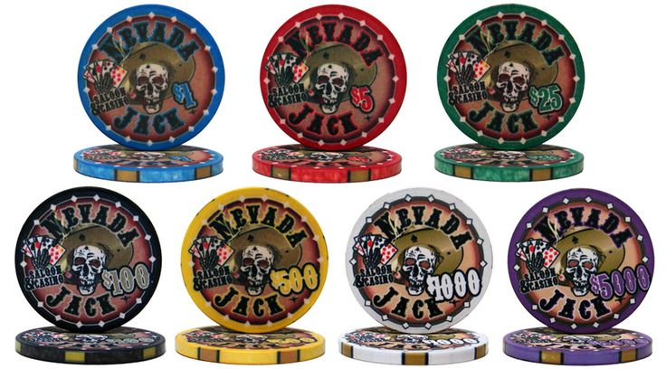 "Nevada Jack 10 gram ceramic Poker Chips.  Cool design depicting a poker playing skull holding ""the dead man's hand""."