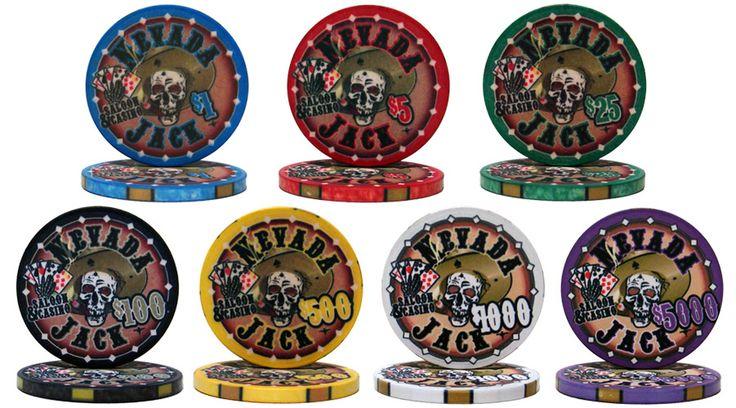 "Nevada Jack 10 gram ceramic Poker Chips.  Cool design depicting a poker playing skull holding ""the dead man's hand""."