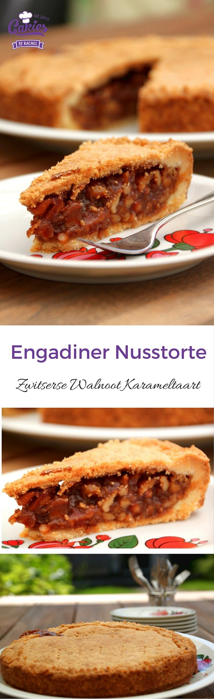 Een recept voor Engadiner Nusstorte, een Zwitserse notentaart. zanddeeg gevuld met walnoten in een dikke karamel saus. Een echte traktatie.