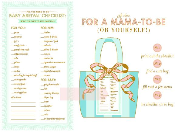Baby Arrival Checklist ... could provide a few of these and a cute bag for the mom-to-be